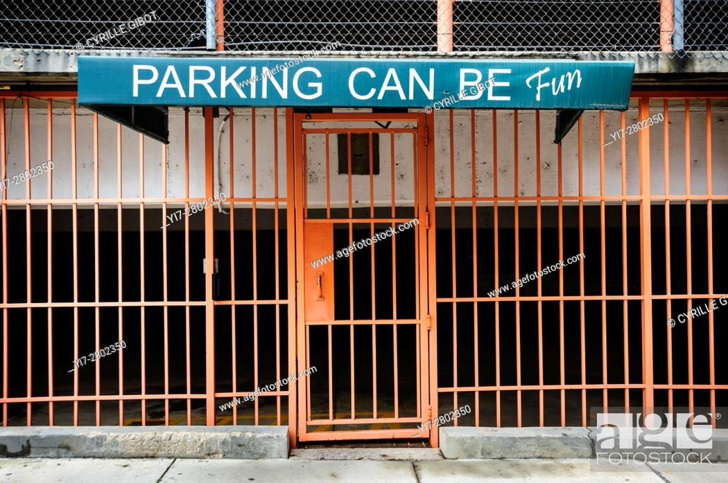 Stock Photo: 'Parking can be fun' sign outside of parking garage, downtown Memphis, Tennessee, USA.