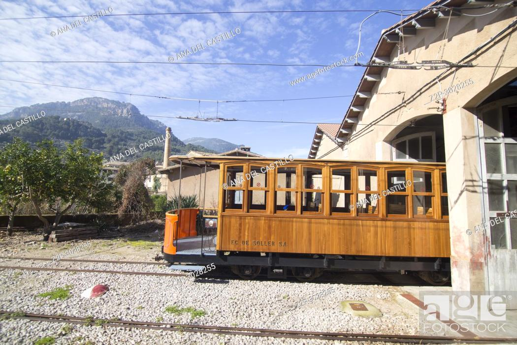 Stock Photo: The train of Soller goes from Palma de Majorca to Soller village in Majorca, Balearic Islands, Spain.