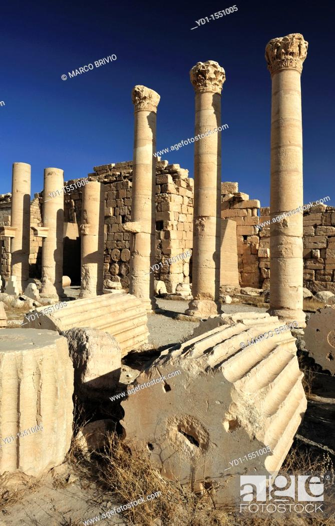 Stock Photo: Temple of Bel  Palmyra Tadmur, Syria  The complex consists of two parts: a huge walled courtyard, or temenos, and, at its centre, the temple proper or cella.