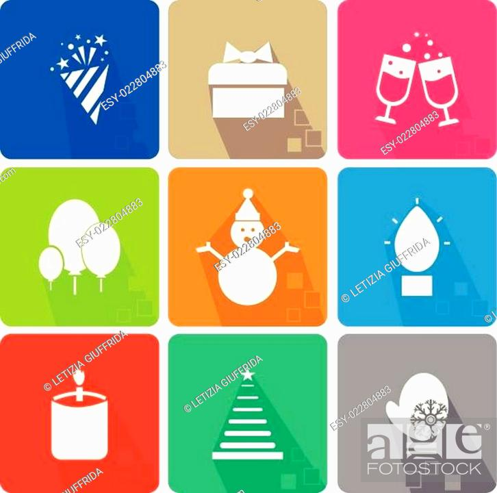 Stock Vector: Christmas icons set with objects typical of the party.