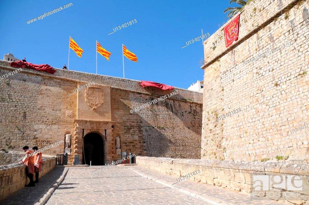 Stock Photo: Portal de Seus Taules , Gate , Main entrance to the walled city of Ibiza, Baleares Islands, Spain.