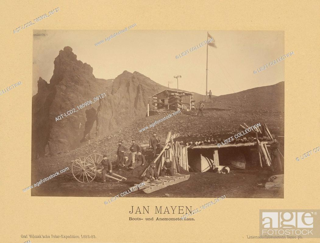 Stock Photo: Jan Mayen, Boots- und Anemometerhaus; (Linienschiffs-Lieutenant) Richard Basso (German ?, active 1882 - 1883); Jan Mayen.