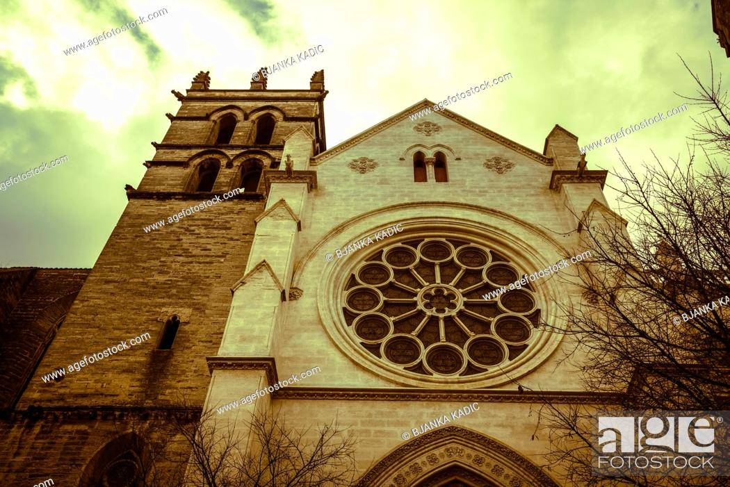Stock Photo: Gothic Cathedral, Montpellier, France.