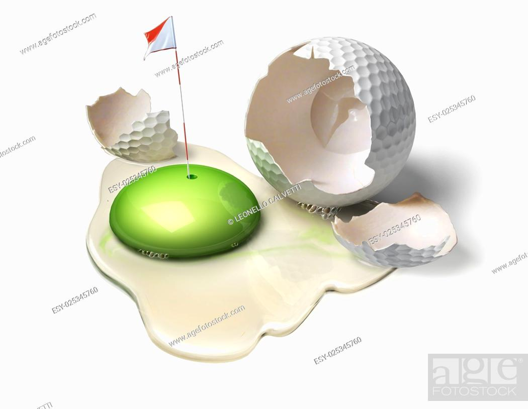 Imagen: Golf ball as a broken egg with green yolk, representing the game field with hole and flag.