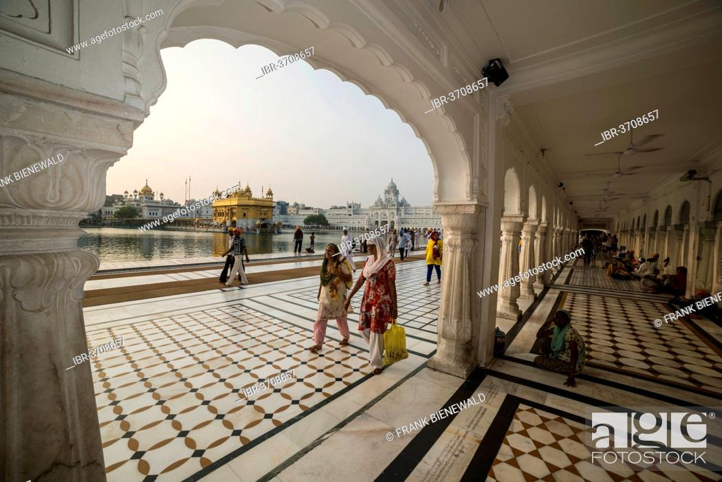 Stock Photo: Arcades inside the temple complex, Harmandir Sahib or Golden Temple, a holy Sikh temple, Amritsar, Punjab, India.