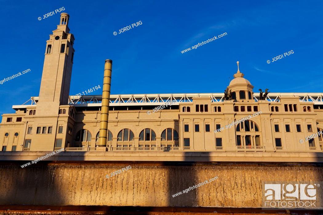 Stock Photo: Lluis Companys Olympic Stadium, Montjuic, Barcelona. Catalonia, Spain.