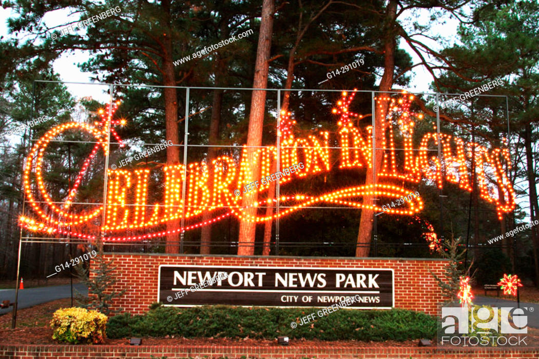 stock photo driving through christmas display celebration of lights newport news park