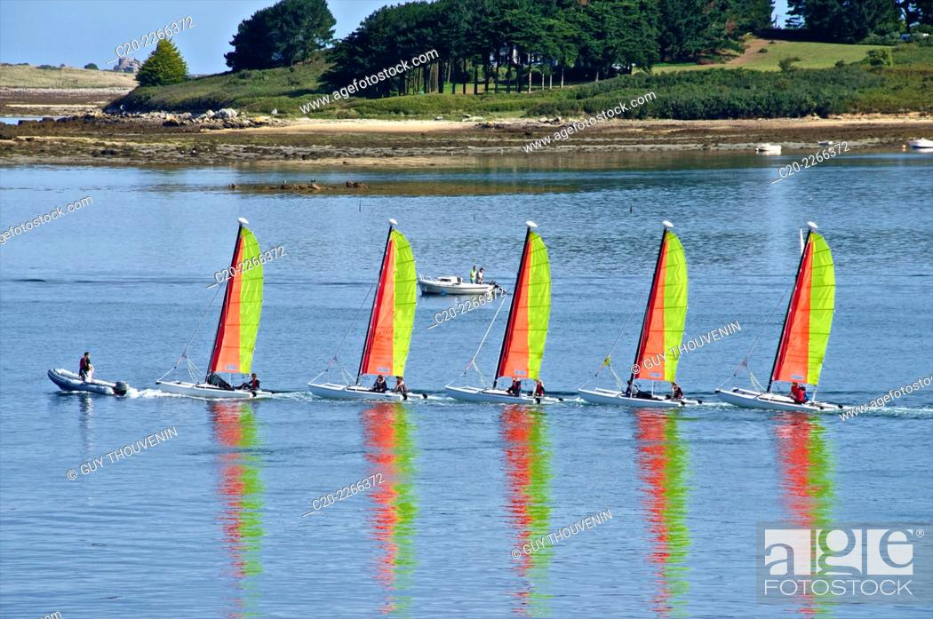 Stock Photo: Sail boats, sailing school, Aber'Wrach, Abers region, Brittany, Finistere 29, France.