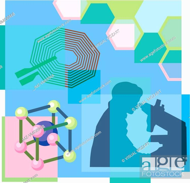 Stock Photo: Montage illustration about nanotechnology containing a person looking through microscope, atoms.