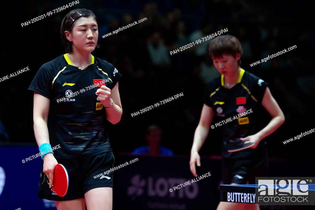 Stock Photo: 01 February 2020, Saxony-Anhalt, Magdeburg: Table tennis: German Open, women, doubles, final, Chen/Wang (China) - Hirano/Ishikawa (Japan).