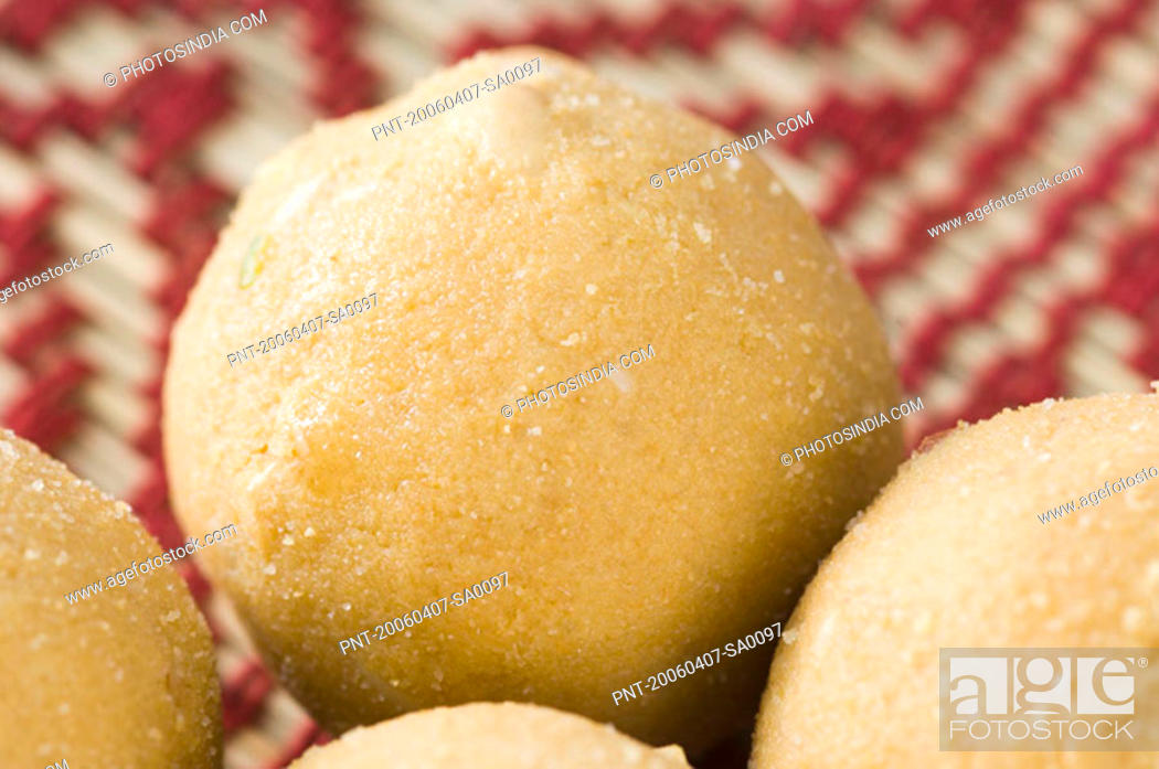 Stock Photo: Close-up of four bean Ladoos.