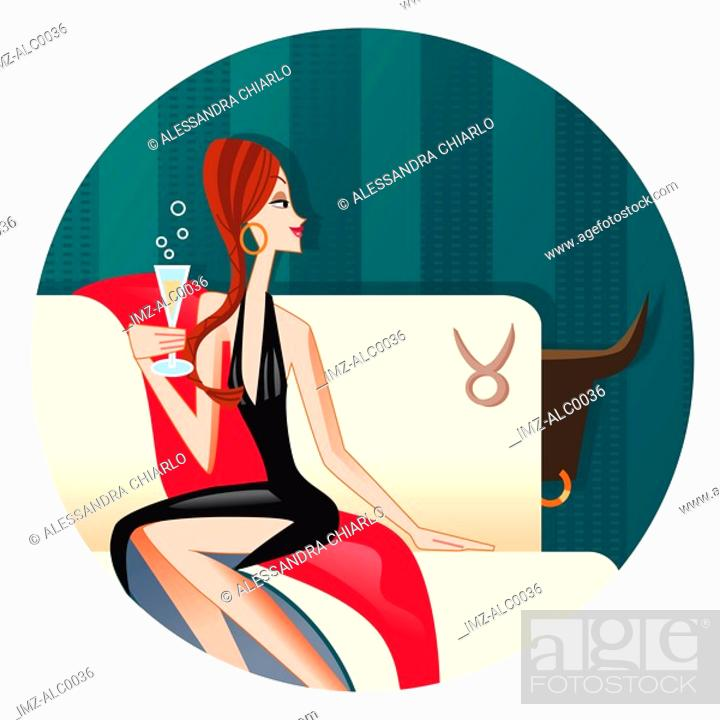 Stock Photo: A Taurus woman sipping champagne on a sofa.