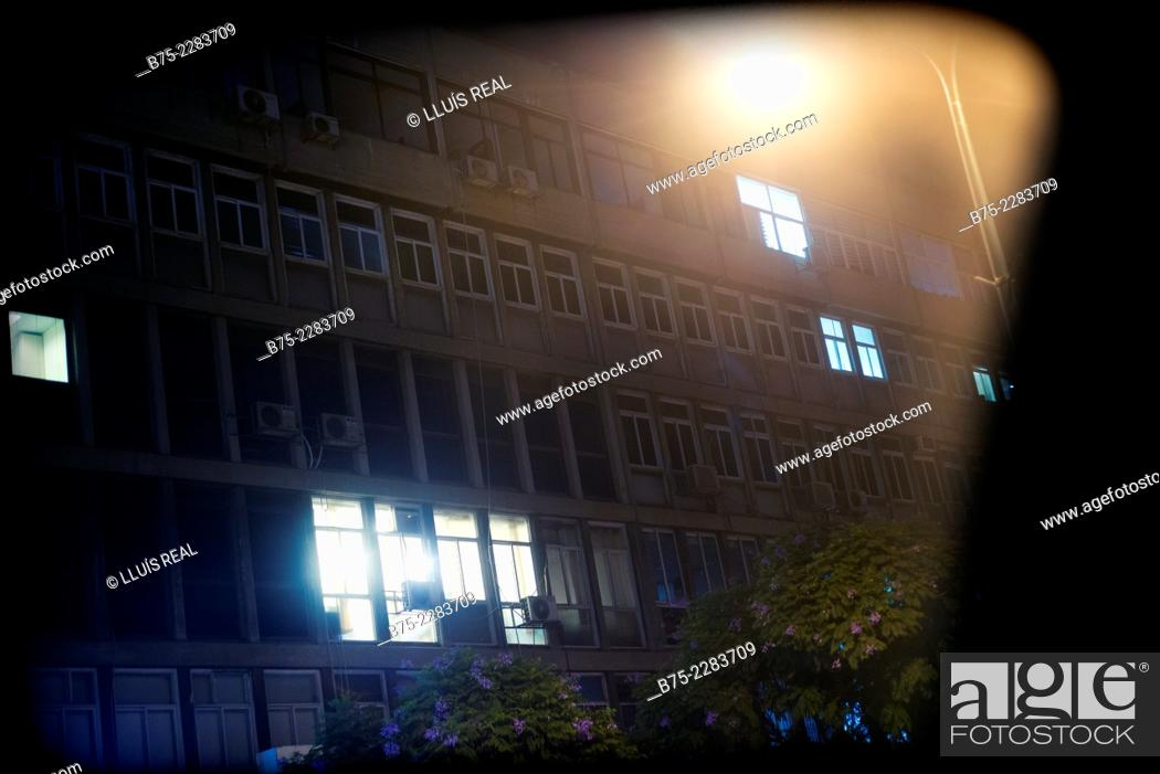 Stock Photo: Night view of the facade of an apartment building in the city of Tel Aviv, Israel.