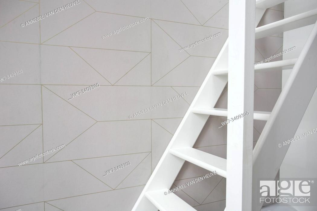 Stock Photo: Stairs in modern white room, white wooden stairs with white wall modern retro wallpaper.