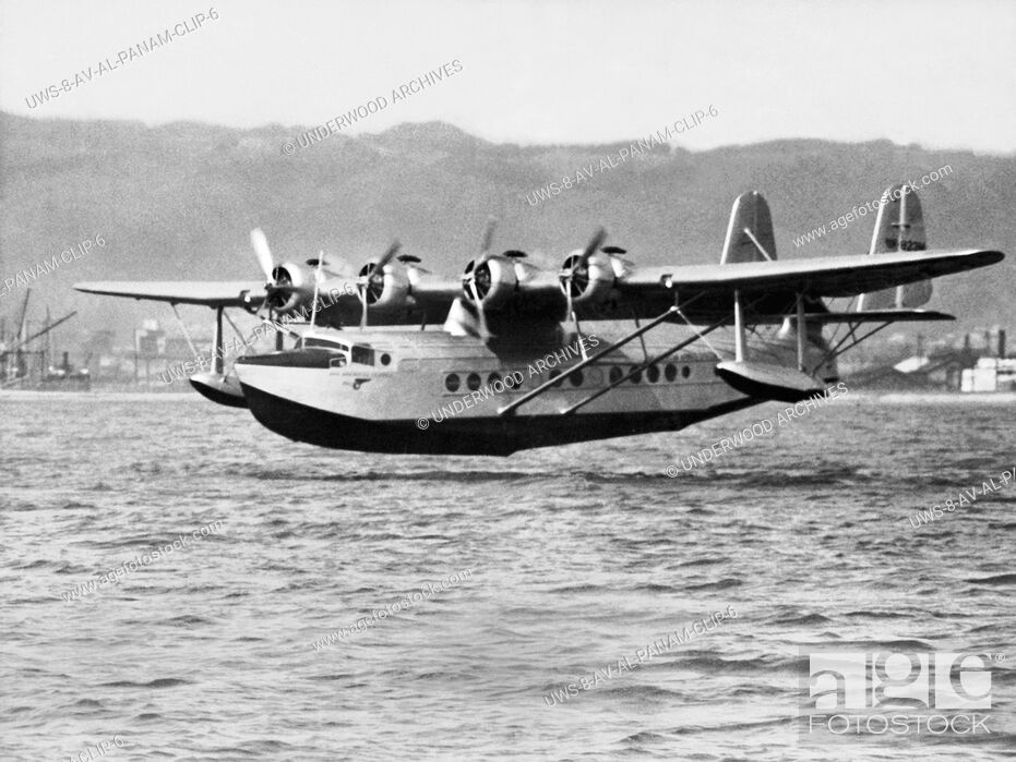 Stock Photo: Oakland, California: April 23, 1935 The Pan Ameican Clipper flying boat as it landed in San Francisco Bay becoming the first aircraft to complete a round trip.