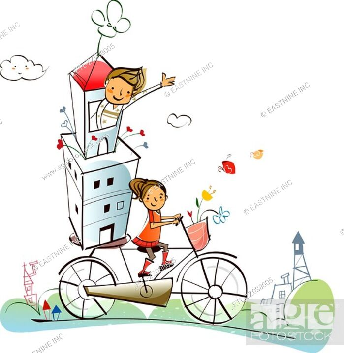 Stock Photo: Couple carrying a house on a bicycle.