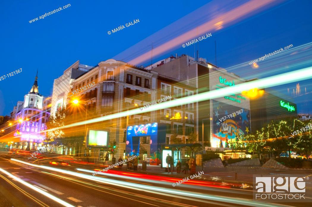 Stock Photo: Narvaez street at Christmas time, night view. Madrid, Spain.