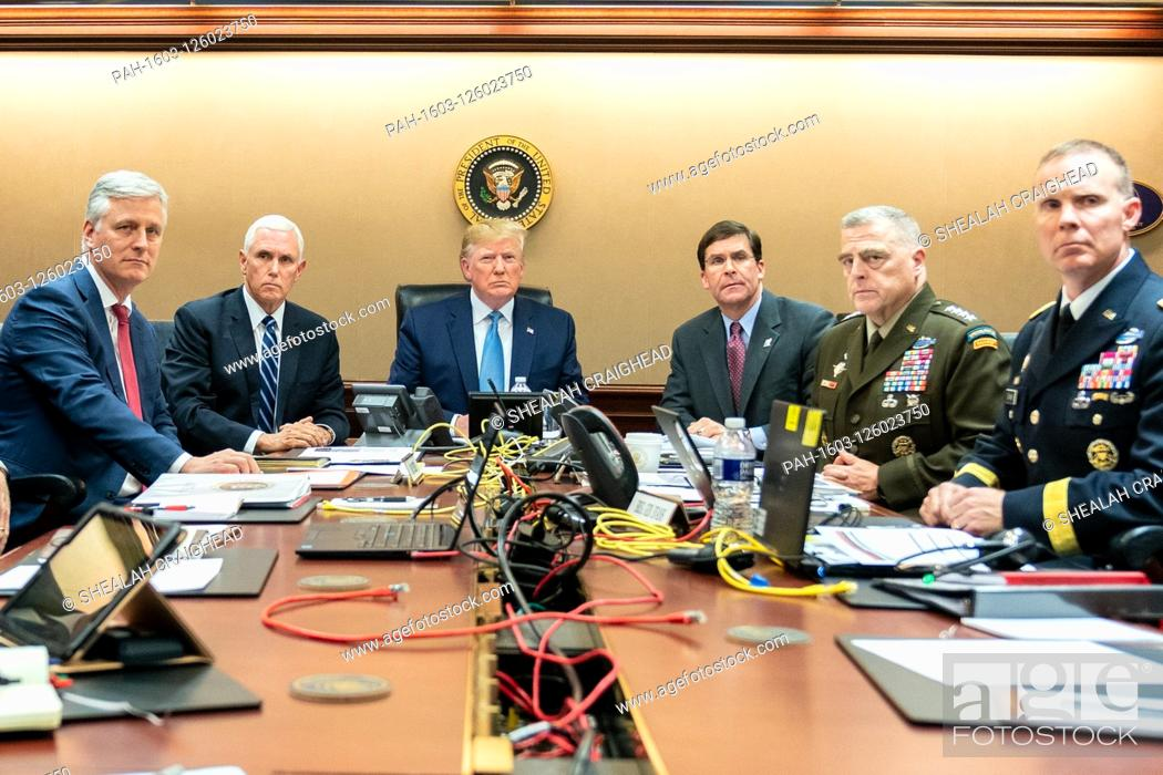Stock Photo: In this photo released by the White House, United States President Donald J. Trump is joined by United States Vice President Mike Pence.