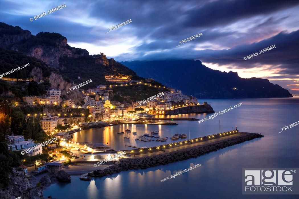Stock Photo: Early morning twilight view of Amalfi, Gulf of Salerno, Campania, Italy.