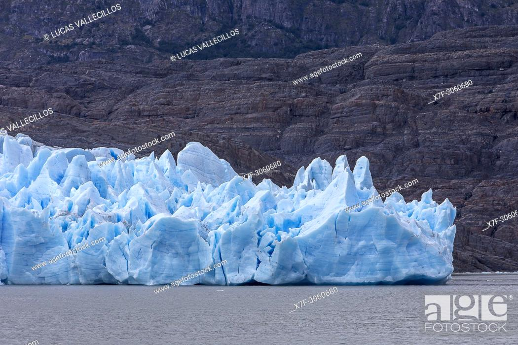 Stock Photo: Detail, Grey Glacier, in Grey Lake, Torres del Paine national park, Patagonia, Chile.