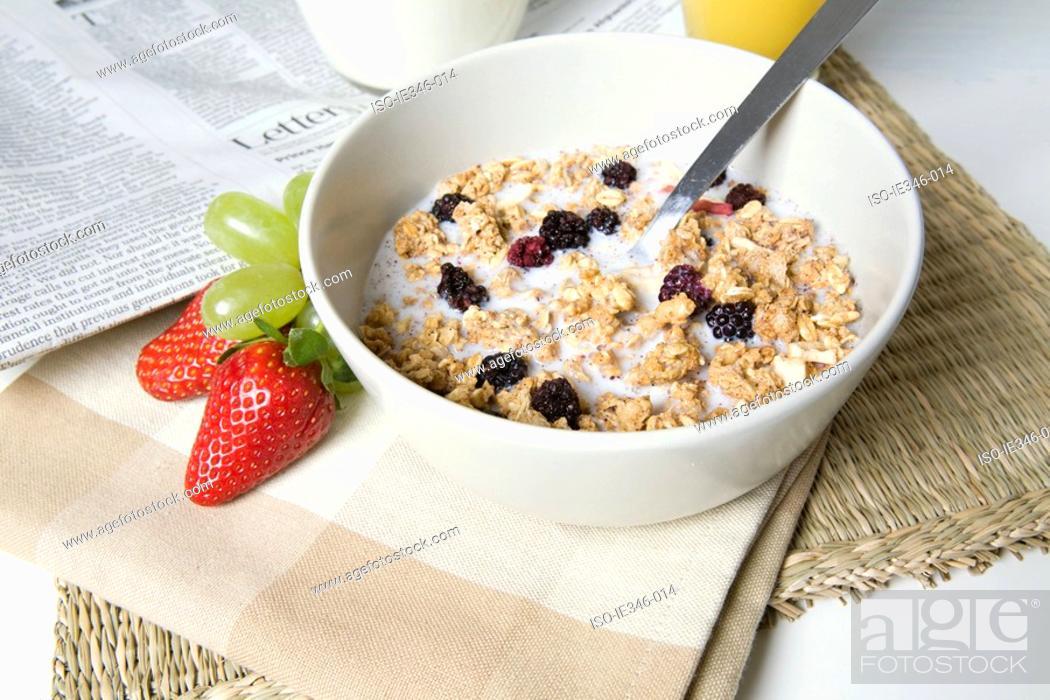 Stock Photo: Granola in a bowl.