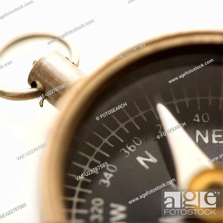 Stock Photo: Detail of compass pointing northeast.