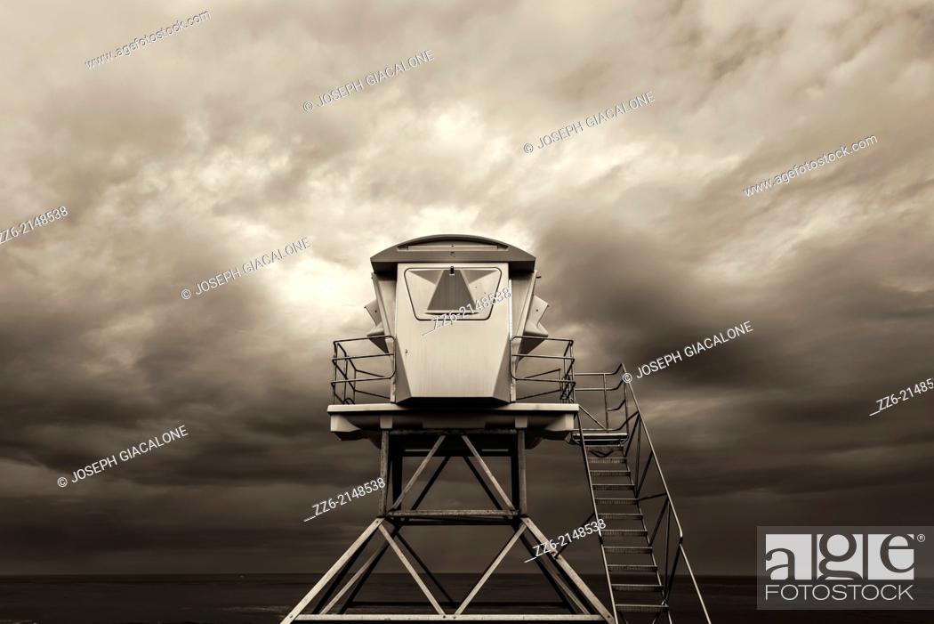 Stock Photo: Lifeguard Tower at Ellen Browning Scripps Park. La Jolla, California, United States.