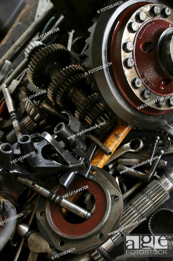 Stock Photo: automotive parts, bolt, assorted.