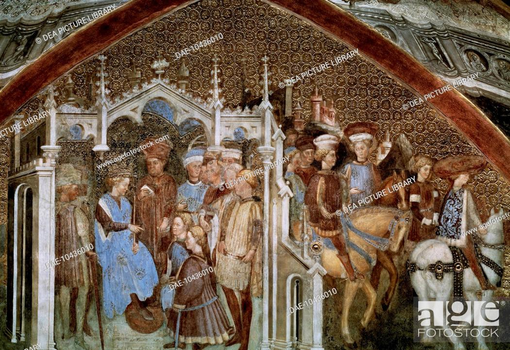 Stock Photo: Juganda proposing marriage, detail from the Stories of Theodolinda, cycle of frescoes painted in the 15th century by the Zavattari brothers.
