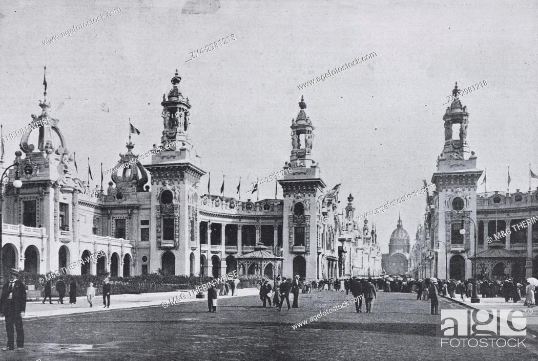 Stock Photo: Palace around the Esplanade des Invalides, Universal Exhibition 1900 in Paris, Picture from the French weekly newspaper l'Illustration, 20th October 1900.