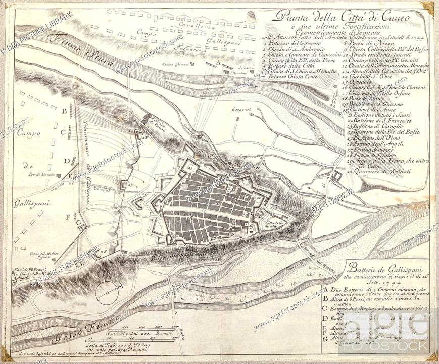 Cartography Italy 17th century Map of Cuneo and its fortification