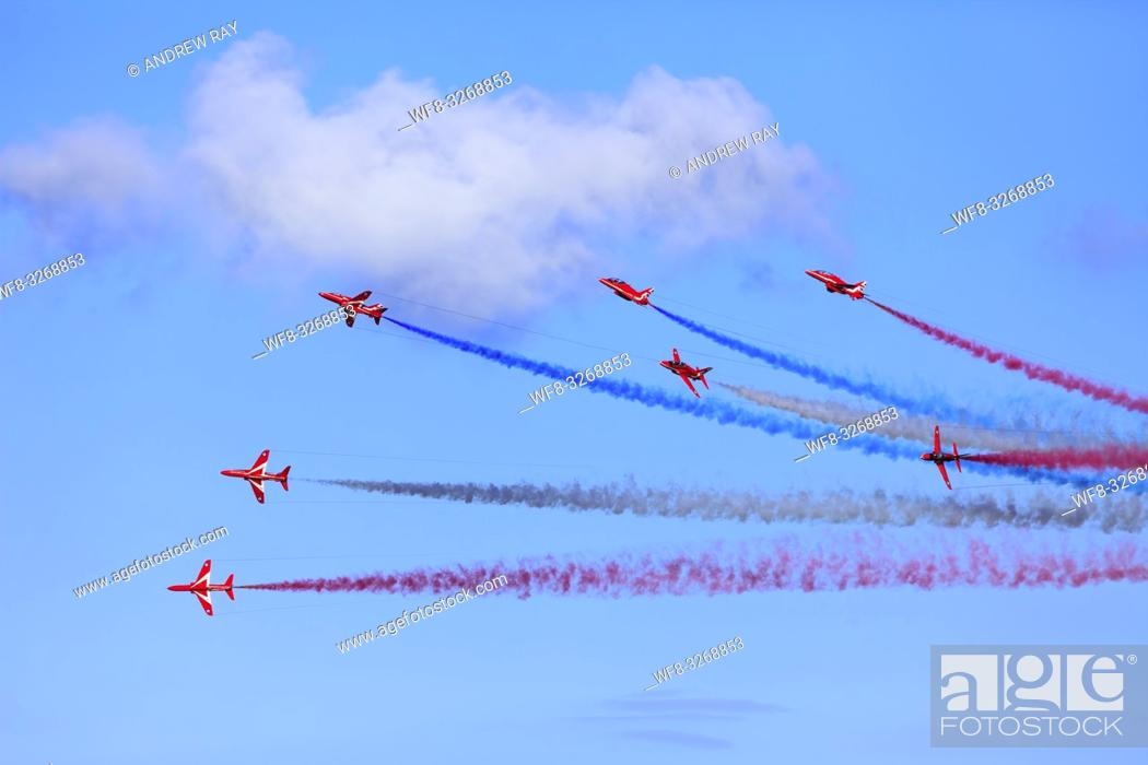 Stock Photo: The Red Arrows over Falmouth Bay in Cornwall.