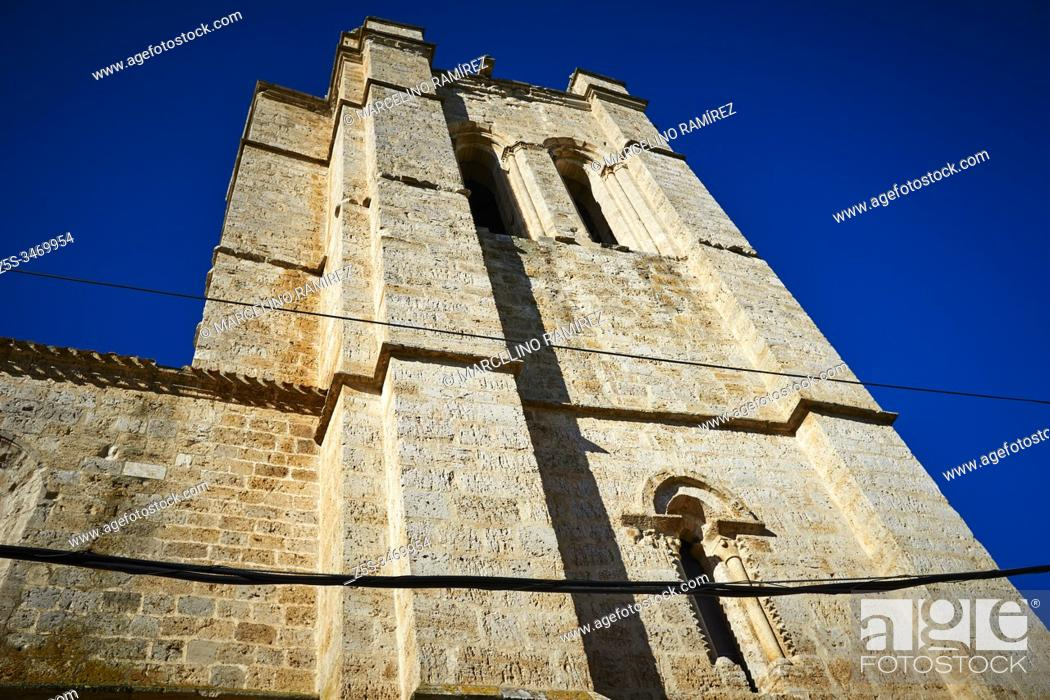 Stock Photo: Church of San Juan. Church on the Camino de Santiago that has preserved an interesting Gothic cloister. Its defensive-looking tower is the only rest of the.