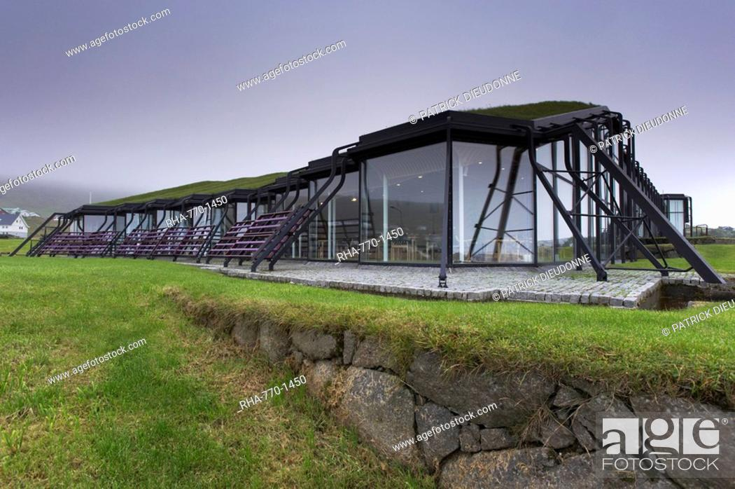 Stock Photo: Nordic House, exteriors and turf covered roof, Torshavn, Streymoy, Faroe Islands Faroes, Denmark, Europe.