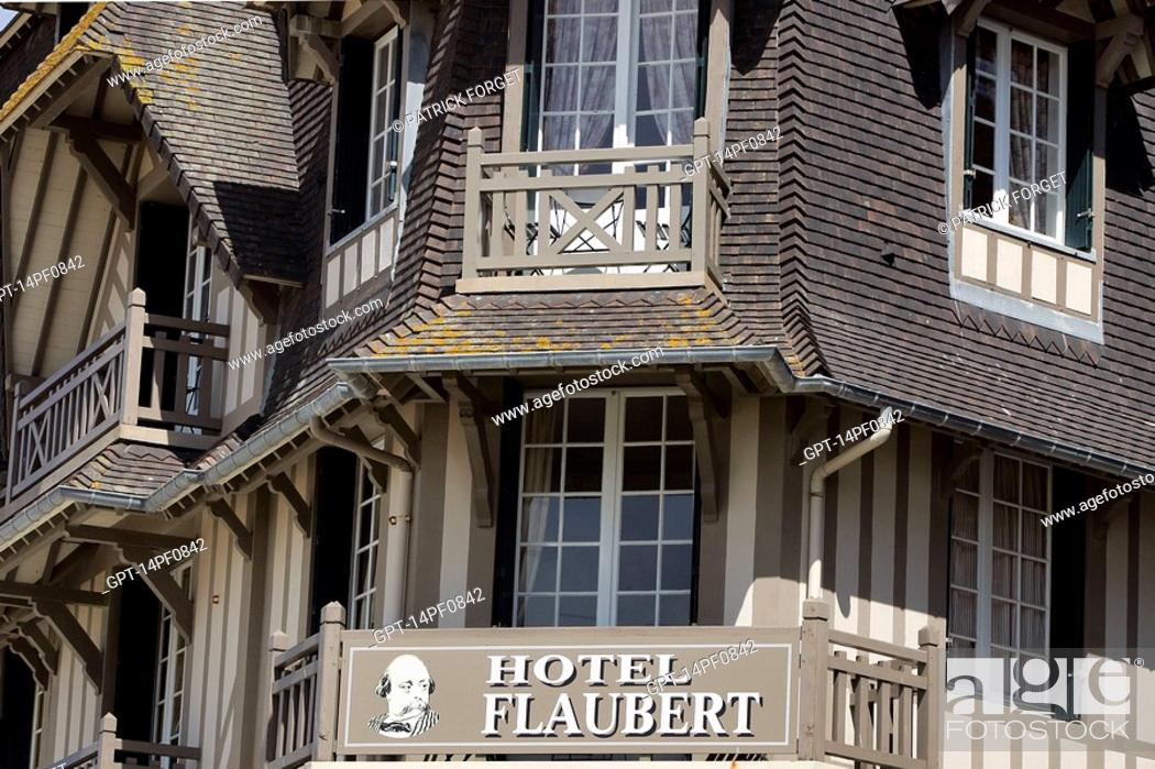 Stock Photo Hotel Flaubert On The Beach In Trouville Sur Mer Calvados 14 Normandy France