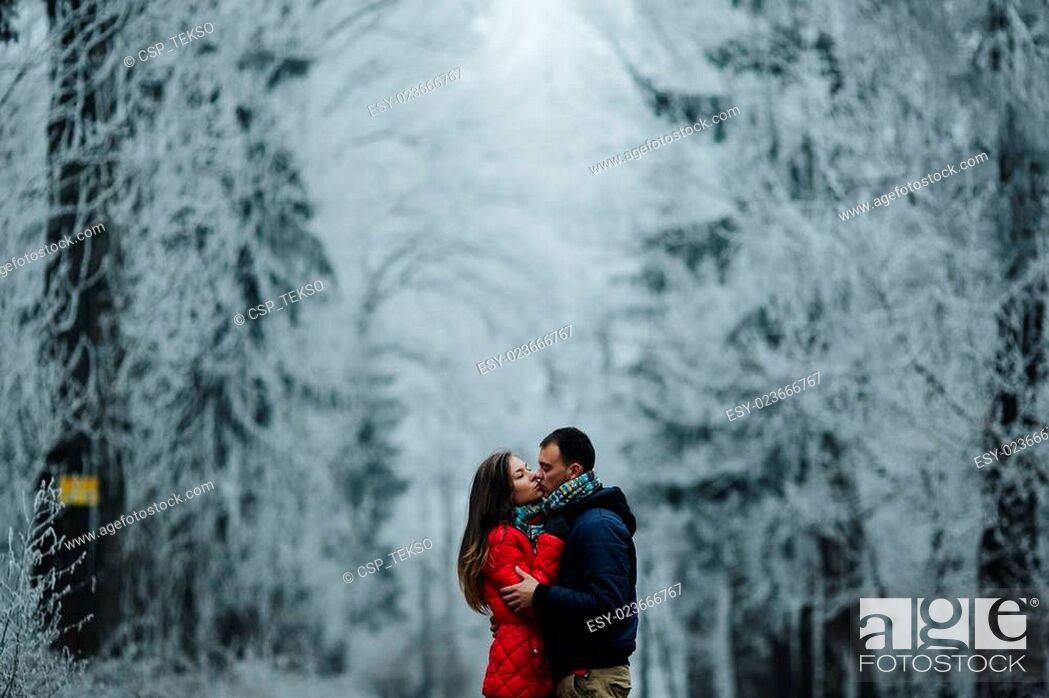 Stock Photo: couple walking on a winter park.