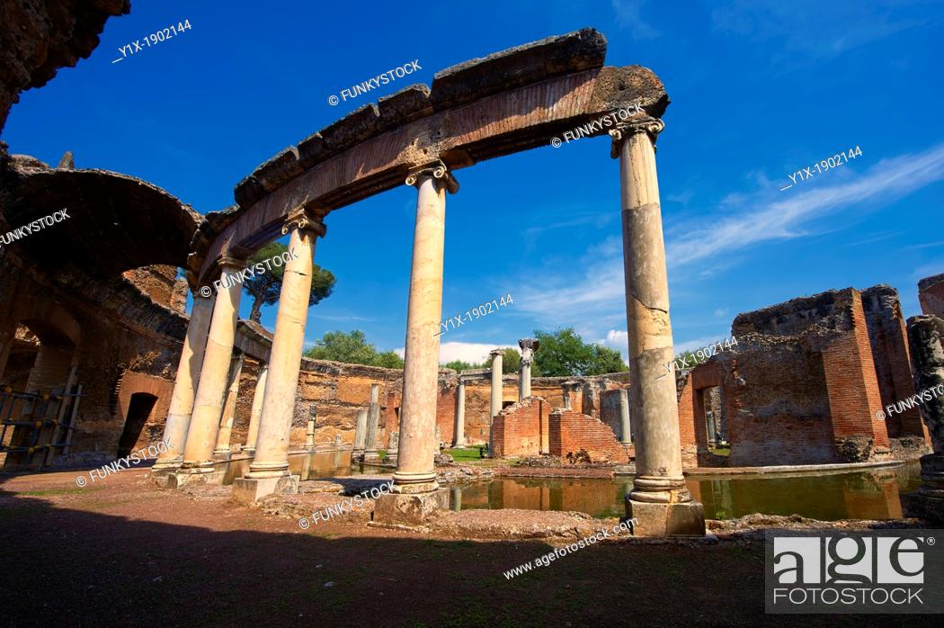 Stock Photo: Hadrian's Villa  Villa Adriana  2nd century AD - The Maritime Theatre  Teatro Marittimo , so called because of its shape and marine architectural decorations.