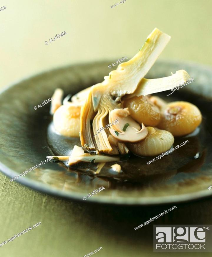 Stock Photo: Caponatina invernale Sweet & sour artichokes & mushrooms.