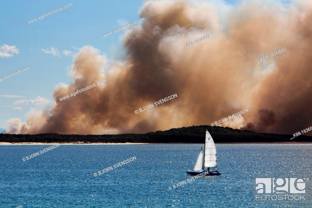 Stock Photo: Bushfire opposite Noosa Heads  Queensland, Australia.