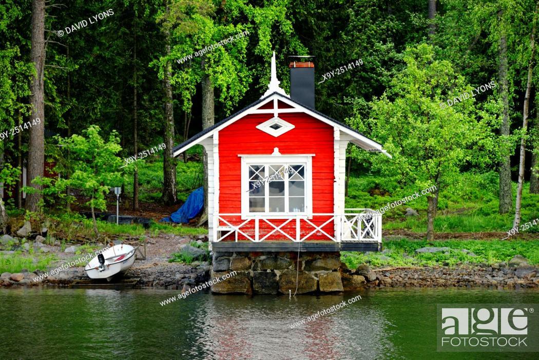 Stock Photo: Helsinki, Finland. Summer house sauna with boat landing on coast on east side of Helsinki.