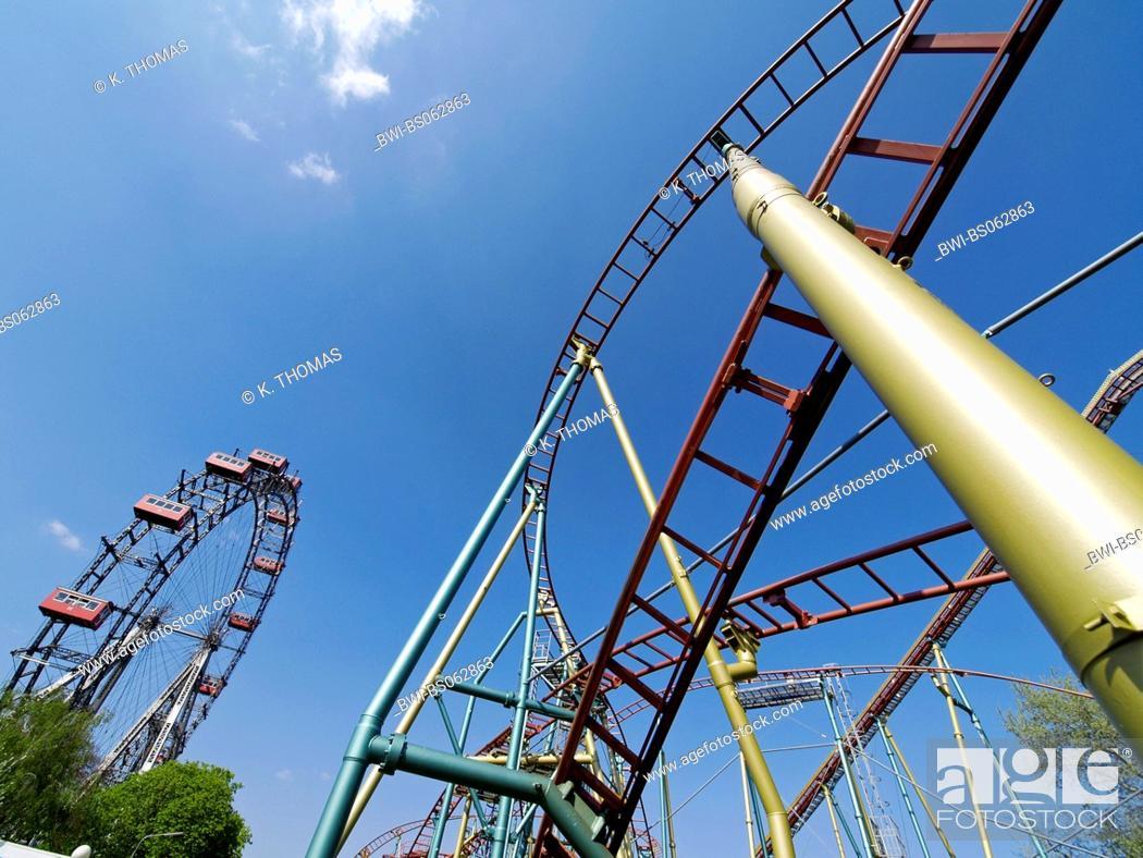 Stock Photo: Vienna, Prater, giant wheel, roller coaster, Austria, Vienna, 2. district, Vienna - Prater.