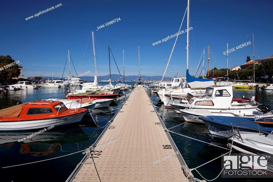 Stock Photo: The harbour of Malinska, Krk island, Croatia, Kvarner bay, Adria,.