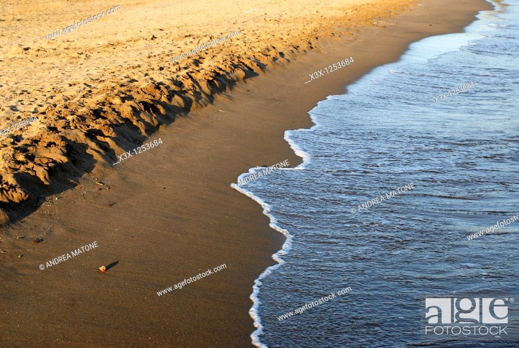 Stock Photo: The beach side and the Mediterranean sea Puntala Tuscany Italy.
