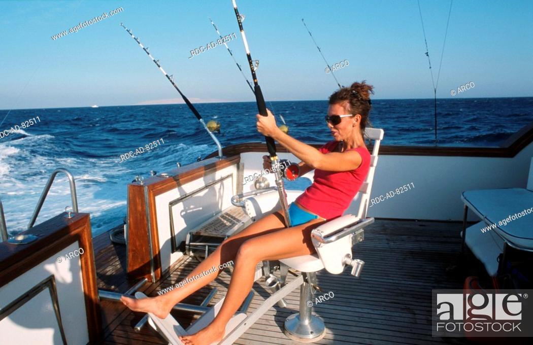 Stock Photo: Woman fishing Red Sea.