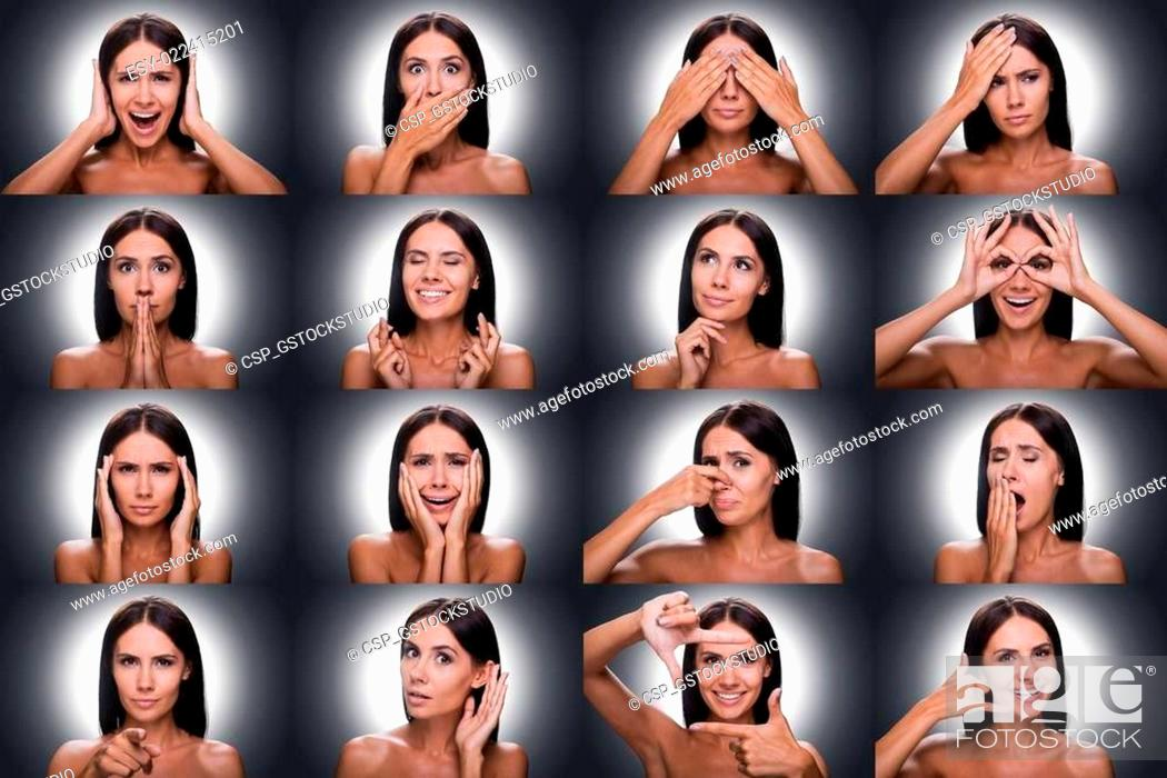 Stock Photo: Emotions and gestures. Collage of beautiful young shitless woman expressing diverse emotions and gesturing while standing against grey background.