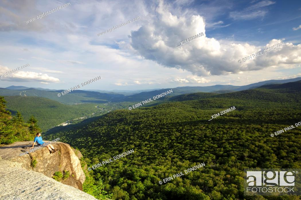 Stock Photo: Franconia Notch State Park - Scenic view from the summit of Mount Pemigewasset in Lincoln, New Hampshire USA during the summer months.