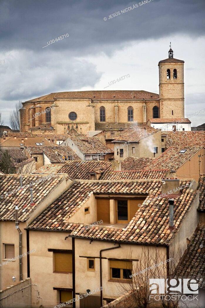 Stock Photo: Collegiate church. Berlanga de Duero. Soria province. Castilla y León. Spain.