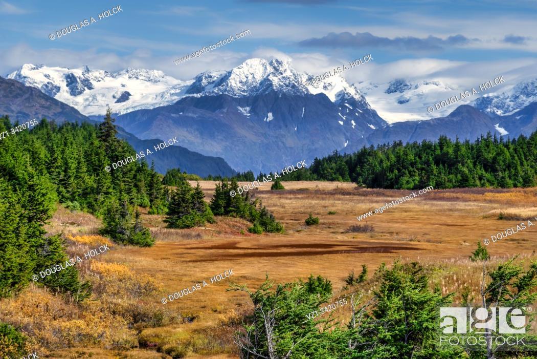 Stock Photo: Seward Highway Scene in Fall Alaska USA.