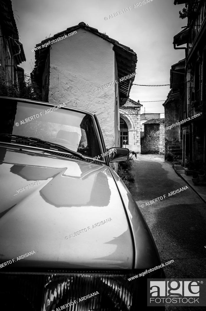 Stock Photo: View of the streets of the town of Cue. Llanes, Asturias, Spain.