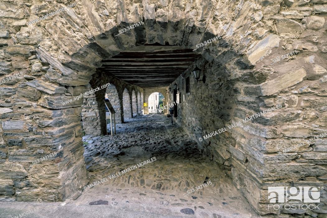 Stock Photo: Medieval arcades in Yanguas. Soria. Spain. Europe.